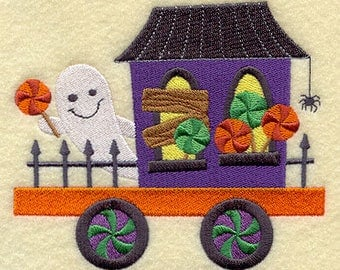 Trick-or-Treat Train - Ghost Caboose, Embroidered Halloween Tea Towel, Halloween Dish Towel, Cute Halloween Kitchen Decoration
