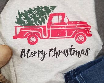 Christmas shirt, womens Christmas shirt, old red truck