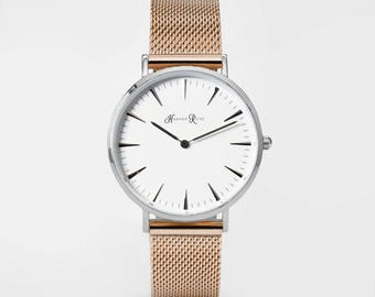 Ladies Watch, Women Leather bracelet, minimalist, gift for her, cheap leather watch, Christmas Watch, Rose Gold Mesh (Silver/White)