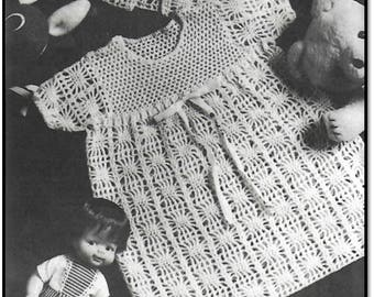 CROCHET Baby Dress- Spider Web Pattern - HEIRLOOM