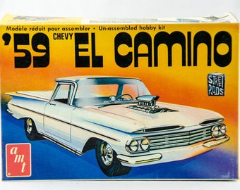 Rare Vintage AMT 1959 Chevy El Camino Street Rods 1/25 Scale Model Car Kit T398