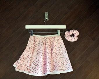 Circle Skirt Flamingo detail With Hair Scrunchie, Handmade Scrunchie, Hair Accessory