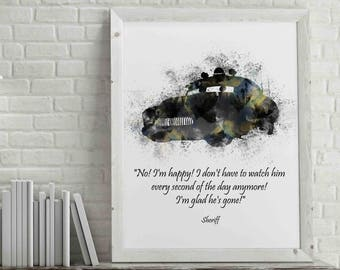 Disney Cars Inspired Sheriff Watercolor Art Printable Nursery Decor | Wall Art | Kids Room | Housewarming | Birthday | Baby Shower | Poster