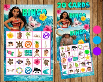 Moana Bingo 20 Cards, Printable Moana Bingo game, Moana printable Bingo cards Instant download
