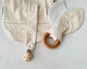 Vintage beige and white heart design 3 piece set - Bib, Dummy Chain & Teether (Medium)