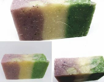 SOAP Pink Purple green and cream. Sweet and fresh scent. 10% superfat