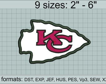 Kansas City Chiefs applique embroidery design logo / applique designs / INSTANT download machine embroidery pattern