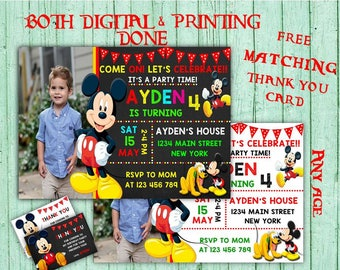 Mickey Mouse Birthday Invitations Mickey Mouse Photo Birthday Party Mickey Kids Birthday Printable Invitation Disney Printable Birthday Card