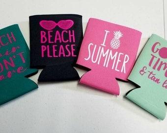 Summer can coolers. Teal, mint, pink, dark grey. Summer designs.