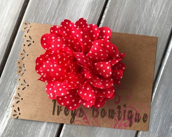 Large red white polka dot chiffon flower hair clip