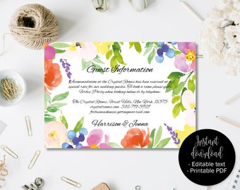 Wedding Guest Information Template, Editable Wedding Guest Information, Text Editable Template Printable, Watercolor Flower Border 3 INFO-3
