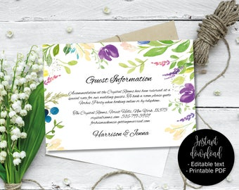 Wedding Guest Information Template, Editable Wedding Guest Information, Text Editable Template Printable, Watercolor Flower Border 8 INFO-8