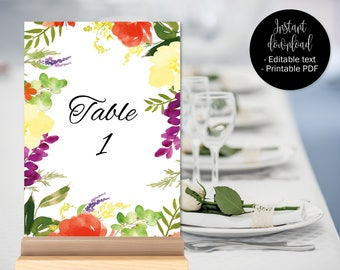 Wedding Table Numbers Template, Table Numbers Names Wedding Printable, Table Names Download, Watercolor Floral Flowers Decor, BORDER-2