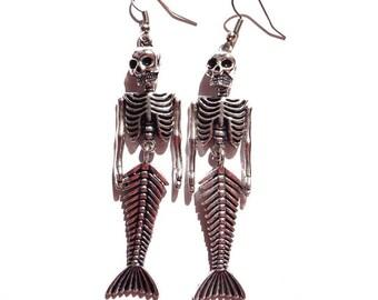 Hypoallergenic Mermaid Skeleton Earrings 2F