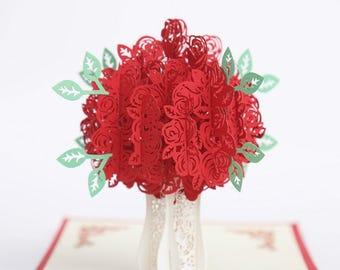 3D Pop UP Red Rose Flower Valentine Anniversary Birthday Greeting Card Gift