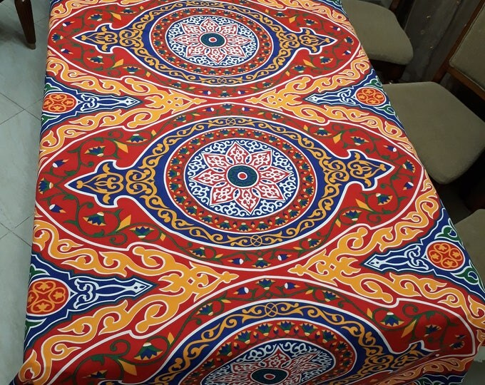 Multicolored red khayameya fabric. Traditional Egyptian motif. Lotus flower. Egyptian fabric for ramadan table decor.