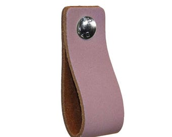 Leather furniture handle,color:lavendel purple,kitchen pulls,leather loops,dresser,cabinet,garden items,babyroom pulls,beautifully finished