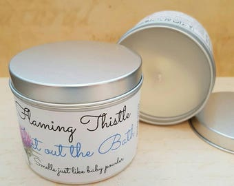 Just out the Bath, Baby Powder, Scented Candle, Fragranced Candle, Large Tin Candle, Container Candle
