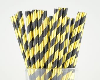 Gold foil/Black Striped Paper Straws - Party Decor Supply - Cake Pop Sticks - Party Favor