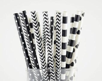 Black/White Paper Straw Mix - Circle/ Hearts/ Dots/ Chevron - Party Decor Supply - Cake Pop Sticks - Party Favor