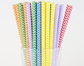 Rainbow Color Chevron Mix Paper Straws - Mason Jar Straws - Party Decor Supply - Cake Pop Sticks - Party Favor