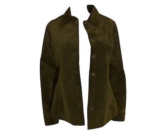Vintage Green Suede Jacket, Green Leather Jacket, Suede Coat, Leather Coat
