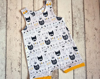 Organic Cat Short Leg Dungarees - Organic Baby Clothes / Toddler Clothes / Cute Cats / Summer Clothes