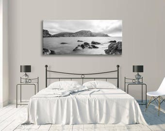 Seascape Coast Black And White Panorama Canvas Wall Art Picture Home Decor