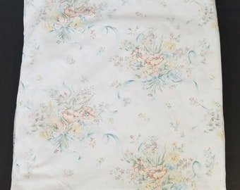 Vintage Pequot White Blue Orange Floral Ribbon Double Flat Sheet Fabric Sewing