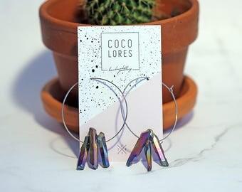 Elegant Rainbow Quartz Point Silver Steel Hoop Earrings