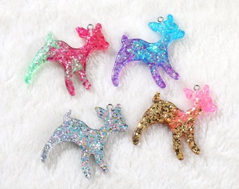 16 pcs Glitter Deer Charms, Deer pendant, Resin Craft Supplies, Kawaii Charms, Glitter charms, DIY deer jewelry, glitter resin
