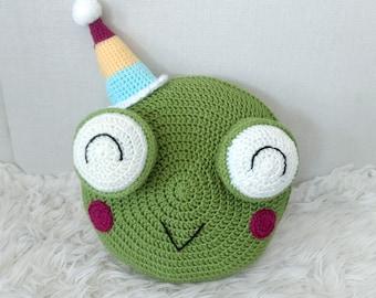 Frog Pillow - Crochet Frog Pillow - Kid's Decor - Frog Decor - Frog With Hat - Party Hat - Knit Pillow - Knit Frog