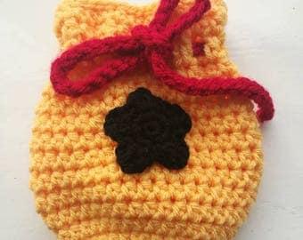 Bell bag, animal crossing bag, dice bag, trinket bag, crochet bag, handmade crochet dice bag