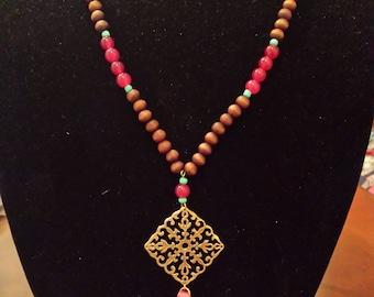 Filigree Disk Drop Wooded Beads w/Tassel
