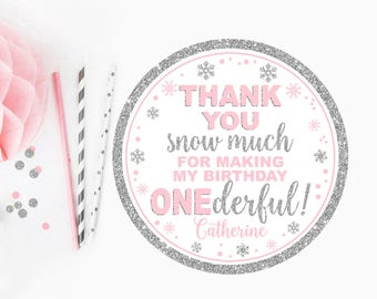 Winter onederland thank you tag, baby shower favor tag, gift tag, winter first birthday thank you tag, pink and silver printable