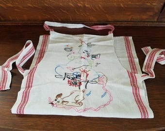 Vintage Hand-Embroidered Apron