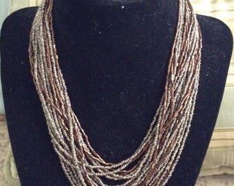 Multi-strand Bronze and Silver Necklace