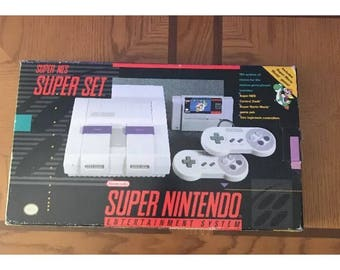 Super Nintendo Console in Box  SNES Super NES System Super Mario World