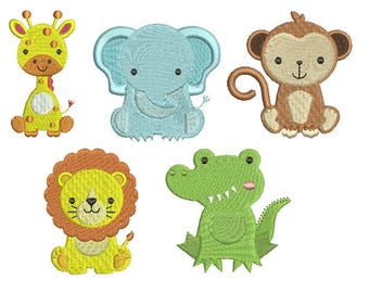 Jungle Baby Animals EMBROIDERY Set Fill Design giraffe crocodile monkey lion elephant Machine Instant Download EN2024FS1