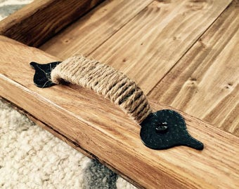 Rustic style wooden serving tray