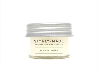 Soy Candles // Summer Storm // 4 oz Mason Jar Candles // Scented Candles // Modern Farmhouse Decor