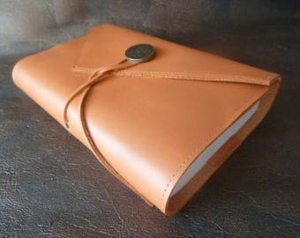Height 18 cm book, book adaptable cowhide leather orange