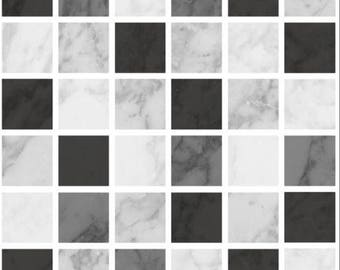 Pack of 10 black marble effect mosaic tile stickers transfers, with added gloss affect, just peel and stick, bathroom kitchen