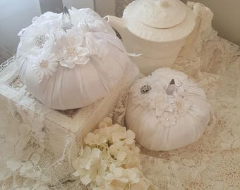 Romantic White Fabric Wedding Pumpkins - Set of 2