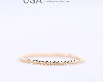 14k Gold Filled Stacking Ring, Gold Twist Ring,Minimalist Rings,Skinny Rings,Slim Stack Rings, Rolled Gold Ring, 14 k Gold rope ring