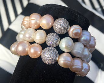 Blush Color Fresh water pearl beaded bracelet