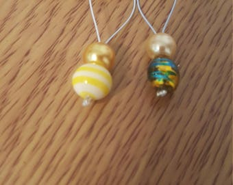 double  blue and yellow set of snag free stitch markers