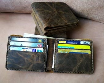 Hip wallet for men, cow leather Brown wallet