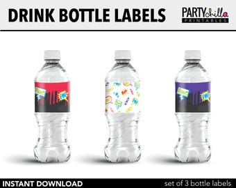 Superhero Party Water Bottle Label, Superhero Party Decorations, Superhero Party Printables, Superhero Drink Bottle Labels, INSTANT DOWNLOAD