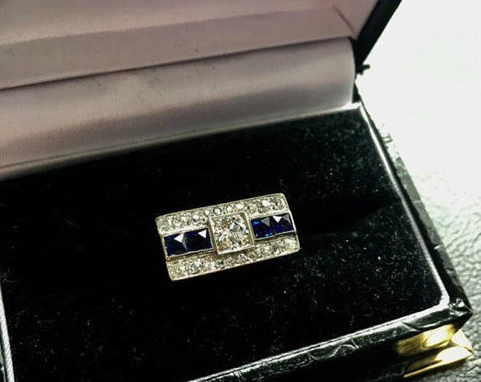 Vintage Hand-Made Diamond & Sapphire Cocktail Ring